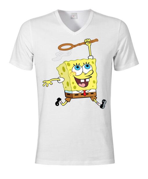 V-Neck Top V-Neck White Spongebob Jellyfish Hunting Men T Shirt