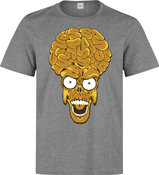Vintage Film Mars Attacks The Alien Spacemen Head Funny Clothes Gray Top T Shirt