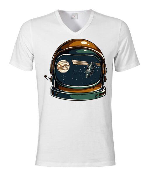 Vintage Retro Nasa Space Helmet Men V-Neck Top V-Neck White T Shirt