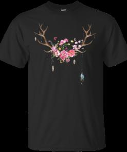 floral deer antlers Cotton T-Shirt